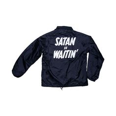 SATAN IS WAITIN' COACHES JACKET (430 HRK) ❤ liked on Polyvore featuring outerwear, jackets, tops, coats & jackets, coach jacket and blue jackets