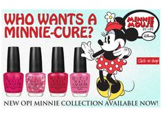 My new favorite colors: Minnie Mouse OPI: 1) I'm All Ears, 2) Nothin' Mousie 'bout It, 3) The Color of Minnie, 4) If You Moust, You Moust