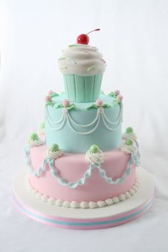 .Cake with a cupcake topper!