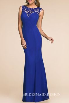 0e5ecc6e6f0 Vintage inspired bright blue lace and chiffon fit-and-flare long bridesmaid  formal dress