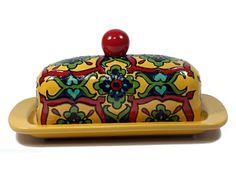 """Amarillo, verde y rojo estilo Talavera plato mantequilla--""""flor Starburst"""""""