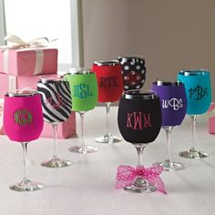 Wine Glass Koozies- I can think of quite a few people who would LOVE these