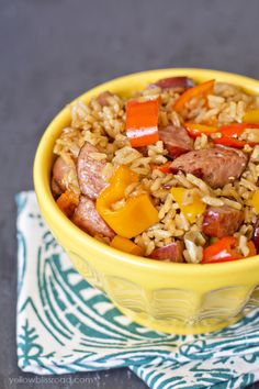 One Pan Smoked Sausage & Rice with Sweet Peppers