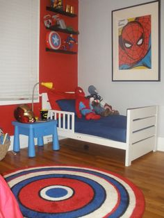 More on the super hero room - could try to paint a Captain America rug