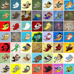 Adam Koford adapts popular characters to fit within the shape of the Twitter logo.