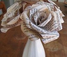 Paper flowers? Book pages, newspaper, crepe paper?