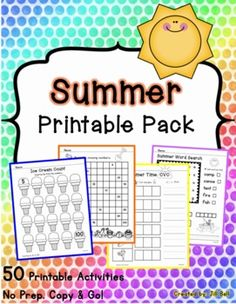 This pack is perfect for those last hectic days of school before summer vacation. Included are 50 printable activities with a summer theme. Ready to print and go! A great review of basic kindergarten/grade one math and literacy concepts.