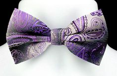 New Purple Paisley Mens Bow Tie & Hanky Set Adjust Tuxedo Wedding Fashion Bowtie #VenettoCollection #BowTie