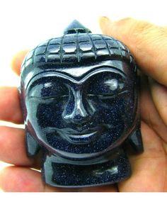 1190Ct Blue Goldstone Sunstone Carved Lord Buddha Art Work Sculpture