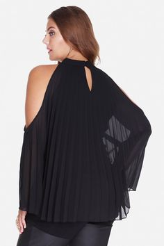 Plus Size Martina Pleated Cold Shoulder Blouse