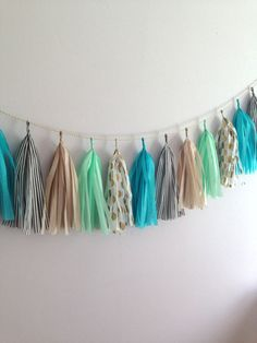 Eclectic Mix Tissue Paper Tassel Garland // Mint, Turquoise, Gold Dot, Black White Stripe, Champagne on Etsy, $30.00