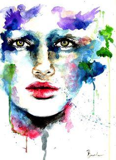 Original Watercolor Abstract Painting Illustration Mayleene. $65.00, via Etsy.
