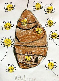Artsonia Art Museum :: Artwork by Kindergarten Art Projects, Kindergarten Class, Bee Painting, Elementary Art Rooms, Bee Theme, Spring Art, Animal Projects, Preschool Art, Art Plastique