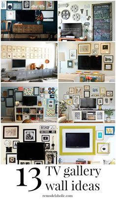 Decorate around the television with these ideas for TV gallery walls @Remodelaholic #walls #gallerywalls #decorating Pictures Around Tv, Decor Around Tv, Decorating Around Tv, Wall Behind Tv, Tv Wanddekor, Tv Wall Decor, Framed Tv, Living Room Tv, Wall Mounted Tv