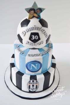 Juve/Napoli soccer cake made by sweetsabbys