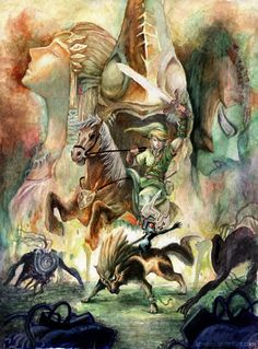 The Legend of Zelda: Twilight Princess | Link, Epona, Princess Zelda, Midna, Wolf Link, Zant, and Shadow Beasts / The Legend of Zelda by kowan on deviantART