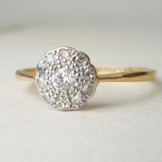 Art Deco Diamond Cluster Platinum & 18k Gold Ring by luxedeluxe