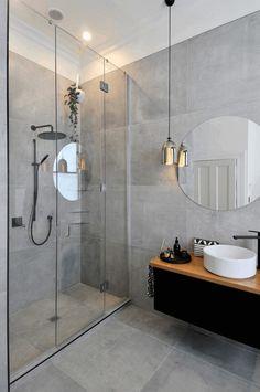 28 Bathroom Lighting Ideas to Brighten Your Style Design # Elegant Modern Bathroom Ideas Grey Bathroom Tiles, Modern Bathroom Design, Bathroom Interior Design, Bathroom Faucets, Bathroom Designs, Grey Tiles, Modern Interior, Bathroom Black, Light Grey Bathrooms