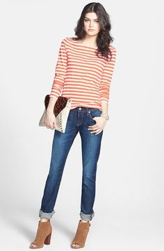 AG 'The Tomboy' Relaxed Straight Leg Jeans (Six Year Compass), striped coral boatneck tee, tan suede peep-toe booties and clutch | Nordstrom