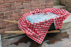 Low Country Cooler - He lined the wheelbarrow with a plastic table cloth & filled it a few hours before guests arrived.  To our surprise, the dripping was from condensation, not a leak!?!