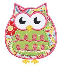owl designs in machine embroidery | 471 Owl Machine Embroidery Applique Design by AppliqueCafeDesigns