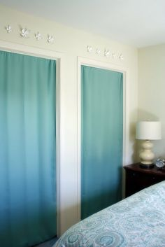 tension rod and curtain for closet door - space saver!
