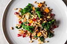 Farro with Roasted Sweet Potato, Kale and Pomegranate Seeds recipe on Food52.com