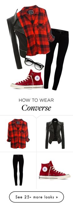 """not even trying to impress you"" by pudina on Polyvore featuring J Brand and Converse"
