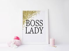 Printable art BOSS LADY Gold print,PRNTABLE Quote,Home decor,Gold prints,Boss Lady Gold print,prints and quotes,gold art,home…