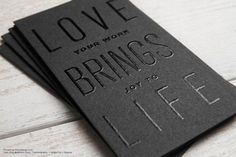 Gray thermography deboss foil stamp modern business card design - Love Brings life