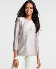 Ann Taylor - AT Blouses Tops - Shimmer Jacquard 3/4 Sleeve Top
