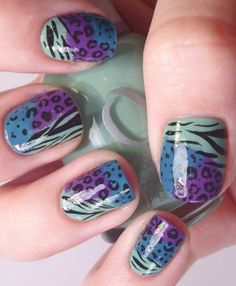 multi color cheetah print nails