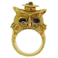 Van Cleef & Arpels Yellow Gold Owl with Sapphire Eyes Ring at 1stdibs