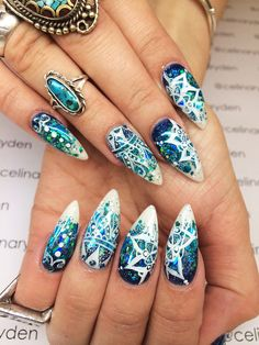 Blue mandala nails