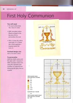 First Communion cross stitch Cross Stitching, Cross Stitch Embroidery, Religious Cross Stitch Patterns, Faith Crafts, Embroidery Cards, St Patrick's Day Crafts, Holy Cross, Religious Icons, First Holy Communion