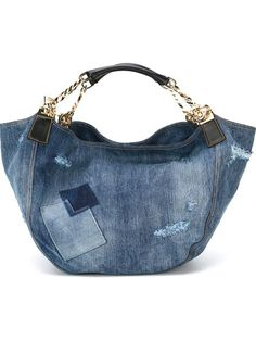 DSQUARED2 Denim Tote. #dsquared2 #bags #shoulder bags #hand bags #leather #tote #cotton