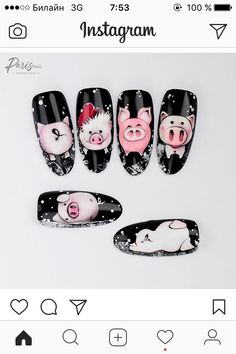 Pig Nail Art, Pig Nails, Animal Nail Art, Nail Polish Art, Cute Nail Art, Animal Nail Designs, Colorful Nail Designs, Nail Art Designs, Xmas Nails