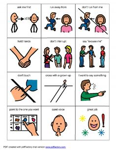 Living Well With Autism - Behaviors picture cards