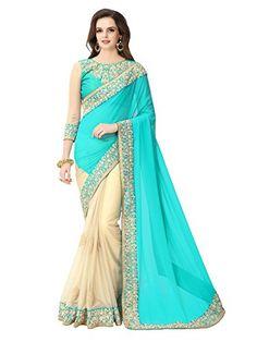 Glory Sarees Women's Georgette Saree With Blouse Piece (Sukanya Blue Saree_Blue & Beige) chiffon sarees for women