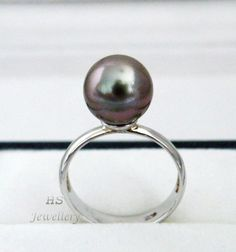 HS #Tahitian South Sea Cultured #Pearl 10.5mm 925 Sterling Silver #Ring Top Grade #Jewelry #Thanksgiving #Christmas