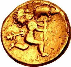 - Reverso de un cuarto de estartero Celta . Siglo ll a.C. .Representa a un hombre escapando con un jabali ensartado mientras recibe un disparo de flecha por la espalda . Noroeste de Galia ./tcc/