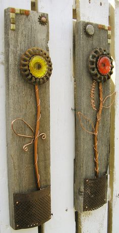 Colorful Rustic Floral Wall Art | Set of 2 | Home Decor, Flower Wall Hanging, Copper. Floral, Metal Art, Reclaimed Wood Art | Industrial Art