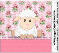 Ovelhinha Rosa Provençal – Kit Completo Digital com molduras para convites, rótulos para guloseimas, lembrancinhas e imagens!