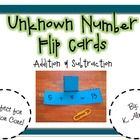 Introduce equations with unknown numbers using these hands-on flip cards. Print, cut and laminate cards.  Fold each tab over and secure with a pa...