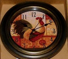 Rooster Decor | French Country Rooster Kitchen Decor Wall Clock