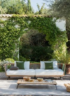 Composition with right and left module Welcome in teak e corda cm 130 Unopiù Outdoor Seating, Outdoor Sofa, Outdoor Furniture Sets, Outdoor Decor, Contemporary Garden Rooms, Terrazzo, Teak, Colours, Composition