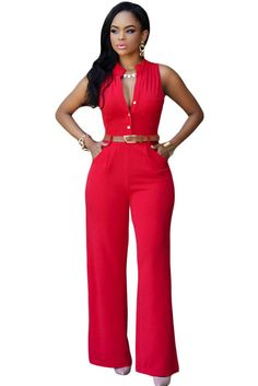 Red Belted Wide Leg Jumpsuit https://www.modeshe.com #modeshe @modeshe #Red