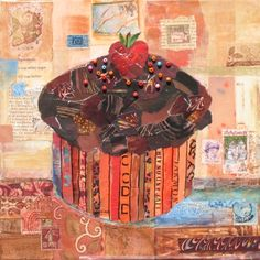 "Granpa's Cupcake, mixed media collage painting by Susan Minier. Original art, 10 x 10"", $250 from Susan Minier.com"