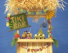 Miniature Hawaiian Tiki Bar for your Dollhouse Luau Party by DinkyWorld at Etsy