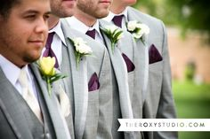 Photography by Samantha McGranahan, The Roxy Studio. Wedding photography, purple and yellow wedding, grey tuxedo, purple pocket square, yellow boutonniere, boutonnieres, groomsmen poses, groomsmen